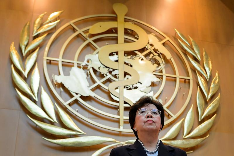 World Health Organization (WHO) Director-General Margaret Chan addresses the WHO general assembly on May 18, 2015 in Geneva (AFP Photo/Fabrice Coffrini)