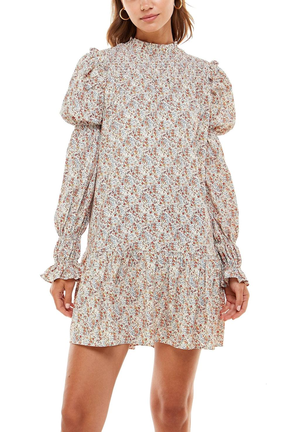 <p>For a romantic look, opt for this <span>WAYF Rovigo Floral Long Sleeve Minidress</span> ($78). The Victorian-inspired style includes voluminous sleeves.</p>