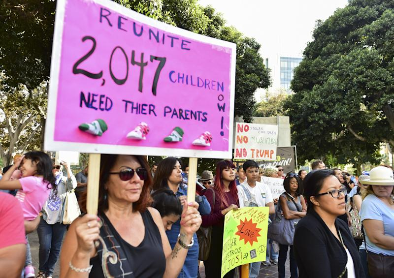 LOS ANGELES, CA - JUNE 28: Rally signs at The Women's March LA Rally for Families Belong Together - A Day of Action at Los Angeles City Hall on June 28, 2018 in Los Angeles, California. (Photo by Rodin Eckenroth/Getty Images)