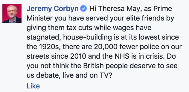 Mr Corbyn posted this to Mrs May (Picture: Facebook)