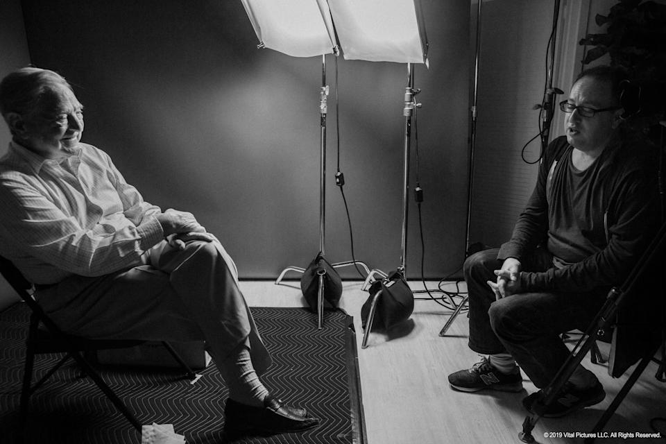George Soros and director Jesse Dylan on the set of the documentary 'Soros' (Photo: Abramorama)