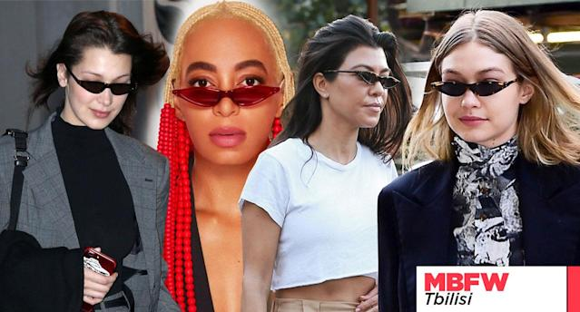 George Keburia is the designer behind the <em>Matrix</em>-inspired tiny-sunglasses trend that has swept up celebrities including, from left, Bella Hadid, Solange, Kourtney Kardashian, and Gigi Hadid. (Photos: Backgrid, Surface Magazine, Art: Quinn Lemmers for Yahoo Lifestyle)