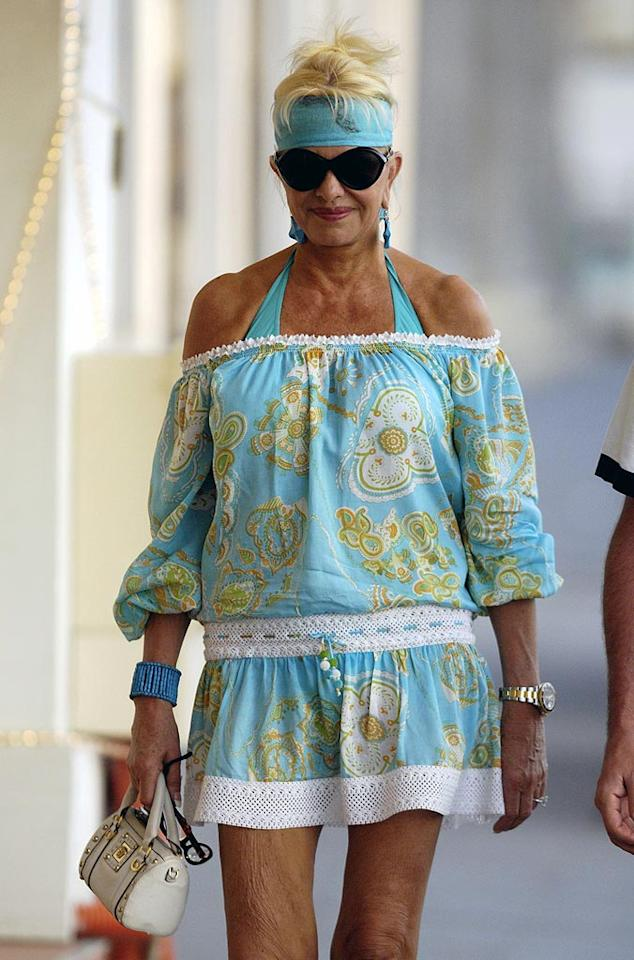 """In addition to tanning salons, Ivana Trump should really steer clear of paisley getups, like the one she recently sported while on holiday in St. Barts. <a href=""""http://www.infdaily.com"""" target=""""new"""">INFDaily.com</a> - February 10, 2010"""