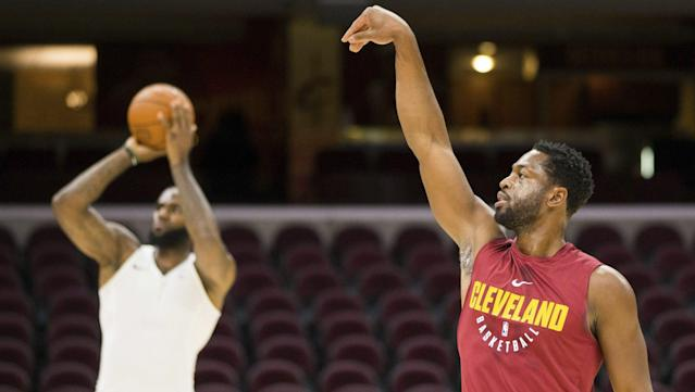 "Cavaliers' <a class=""link rapid-noclick-resp"" href=""/nba/players/3708/"" data-ylk=""slk:Dwyane Wade"">Dwyane Wade</a> will start at shooting guard as he teams up with <a class=""link rapid-noclick-resp"" href=""/nba/players/3704/"" data-ylk=""slk:Lebron James"">Lebron James</a> once again. (NBC Sports)"