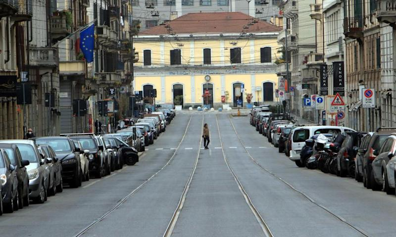 A deserted street in Milan during the coronavirus lockdown. Italy has been in lockdown for nearly three weeks