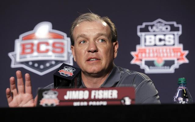 Florida State head coach Jimbo Fisher speaks during a news conference for the BCS National Championship NCAA college football game Tuesday, Jan. 7, 2014, in Newport Beach, Calif. Florida State beat Auburn 34-31 to win the championship the night before. (AP Photo/Morry Gash