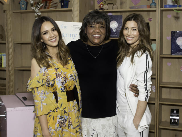 Jessica Alba and Jessica Biel celebrate the book launch of their beloved baby nurse, Connie Simpson. (Photo: Rochelle Brodin)