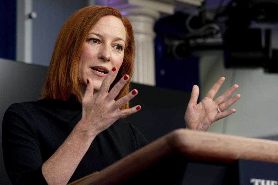 White House press secretary Jen Psaki speaks during a press briefing at the White House, Monday, March 1, 2021, in Washington. (AP Photo/Andrew Harnik)