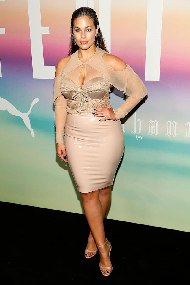 <p>The model rocked that latest latex look Sunday night while attending Rihanna's fashion show for Fenty x Puma. She paired a nude corseted top with a latex skirt. (Photo: Getty Images) </p>