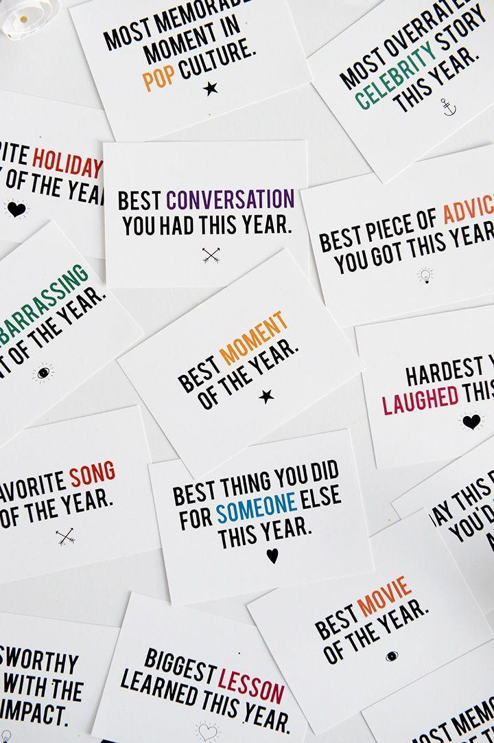 "<p>Here's a game that requires almost no effort (or cost) to prep — especially if you use this free printable. The idea is to spark conversation (and maybe even some controversy) with answers to prompts printed on cards: Best Song of the Year, Best Movie of the Year, Most Embarrassing Moment, Best Piece of Advice You Were Given This Year, and so on.</p><p><em><a href=""https://www.aliceandlois.com/new-years-game-free-printable/"" rel=""nofollow noopener"" target=""_blank"" data-ylk=""slk:Get the printable at Alice & Lois»"" class=""link rapid-noclick-resp"">Get the printable at Alice & Lois»</a></em><br></p>"