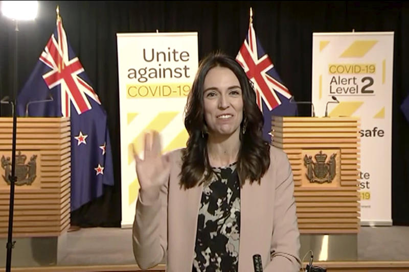 In this image made from video, New Zealand Prime Minister Jacinda Ardern waves to continue to speak when shaking stopped after an earthquake during a live television interview in Wellington, New Zealand, Monday morning, May 25, 2020. The quake struck in the ocean about 100 kilometers (62 miles) northeast of Wellington, according to the U.S. Geological Survey. New Zealand sits on the Pacific Ring of Fire and is sometimes called the Shaky Isles for its frequent quakes. (Newshub via AP)