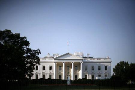 The White House is pictured after sunrise in Washington