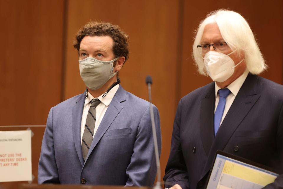 Danny Masterson, left, with his attorney Tom Mesereau in court in Los Angeles on Sept. 18, 2020.