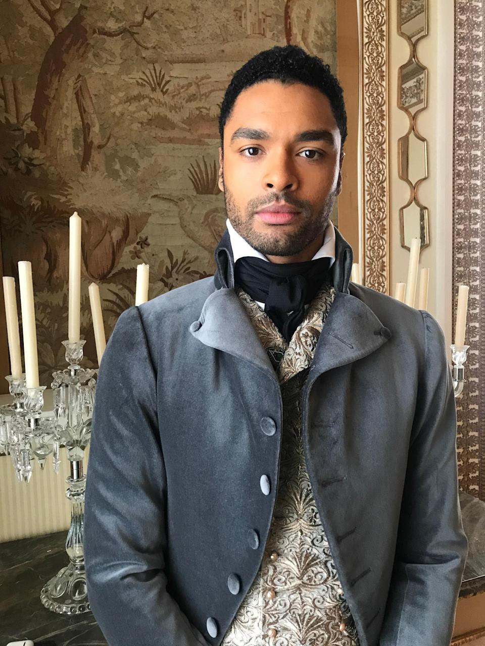 """Regé-Jean Page was thrilled to come on board as the Duke of Hastings: """"I very much enjoy the type of pop culture the Shondaland family creates. The chance to tell a British [period drama/love] story, which I hadn't done in a while, was a lovely opportunity, so I was happy to jump on."""""""