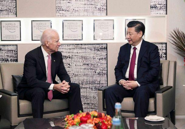 PHOTO: Chinese President Xi Jinping meets with Vice President Joe Biden in Davos, Switzerland, Jan. 17, 2017.  (Xinhua News Agency via Getty Images)