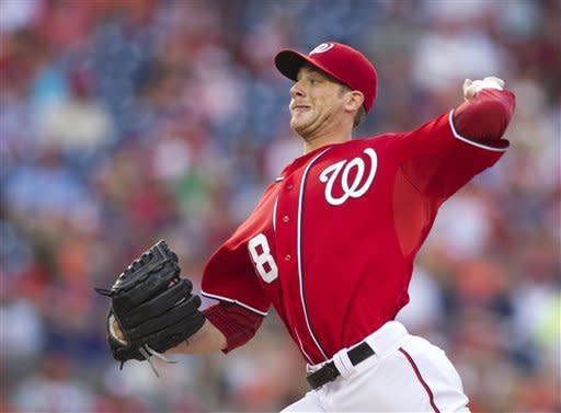 Washington Nationals starting pitcher Ross Detwiler (48) pitches during the first inning of a baseball game against the Baltimore Orioles in Washington, Saturday, May 19, 2012. (AP Photo/Manuel Balce Ceneta)