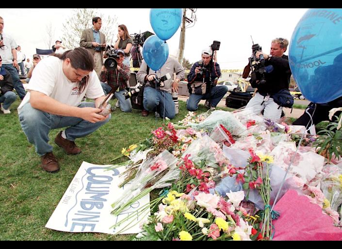 Students Eric Harris, 18, and Dylan Klebold, 17, kill 12 students and a teacher, and wound 26 other people before taking their own lives in a carefully planned attack on Columbine High School in Littleton, Colorado.