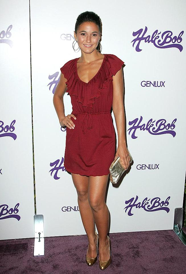 """Entourage"" costar Emmanuelle Chriqui shows off her tanned and toned frame in a sexy scarlet mini dress. Jason LaVeris/<a href=""http://www.filmmagic.com/"" target=""new"">FilmMagic.com</a> - July 9, 2008"