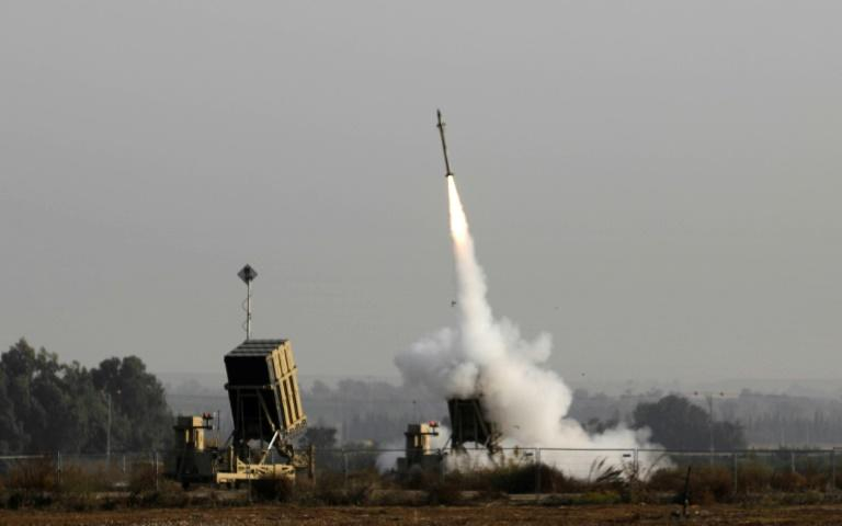 An Israeli missile launched from the Iron Dome defence missile system, designed to intercept and destroy incoming short-range rockets and artillery shells, pictured in the southern Israeli city of Sderot