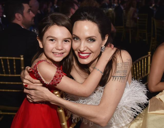 Brooklynn Prince and Angelina Jolie at the 23rd Critics' Choice Awards at Barker Hangar in Santa Monica, Calif., on Jan. 11. (Photo: Getty Images)
