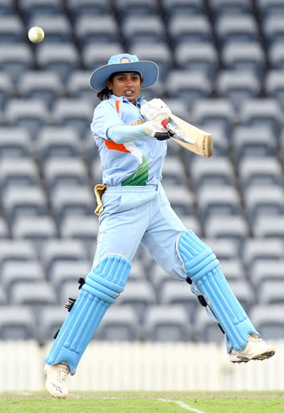 Mithali Raj of India plays a square cut during the 4th Women's One Day International match between Australia and India at Manuka Oval on November 8, 2008 in Canberra, Australia.  (Photo by Mark Nolan/Getty Images) *** Local Caption *** Mithali Raj