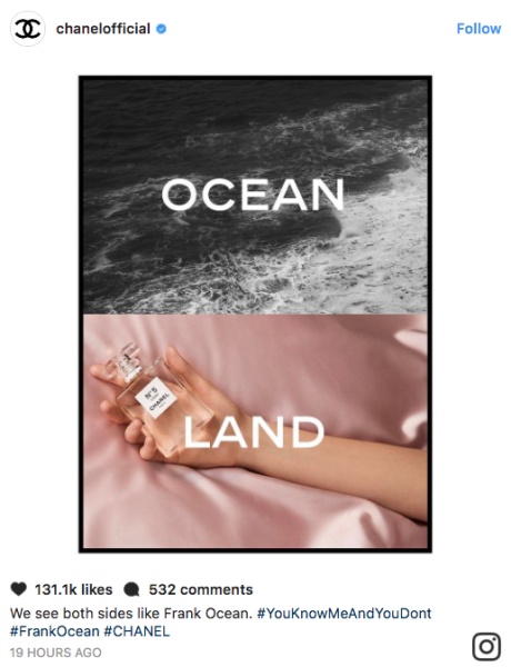 """Following Ocean's new song """"Chanel,"""" the brand posts, """"We see both sides like Frank Ocean"""""""