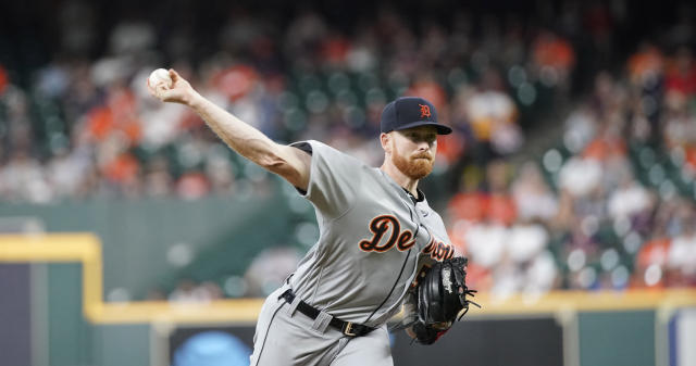 Detroit Tigers starting pitcher Spencer Turnbull throws against the Houston Astros during the first inning of a baseball game Tuesday, Aug. 20, 2019, in Houston. (AP Photo/David J. Phillip)