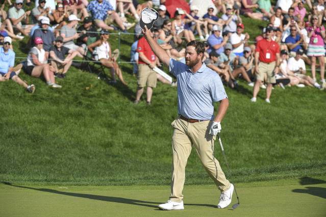 """Though he came up short of the win, <a class=""""link rapid-noclick-resp"""" href=""""/pga/players/10211/"""" data-ylk=""""slk:Zack Sucher"""">Zack Sucher</a>'s runner-up finish at the Travelers Championship changed everything — and wiped out his family's credit card debt. (\Stan Badz/PGA TOUR/Getty Images)"""