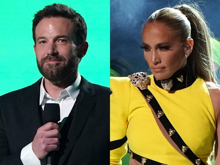 """On the left: Ben Affleck speaking on stage at """"Vax Live: The Concert to Reunite the World"""" in May 2021. On the right: Jennifer Lopez performing at SoFi Stadium in Inglewood, California in May 2021."""