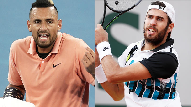 Nick Kyrgios and Karen Khachanov, pictured here in action on the tennis court.