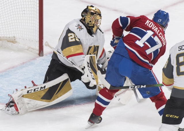 Montreal Canadiens' Ilya Kovalchuk (17) moves in to score against Vegas Golden Knights goaltender Marc-Andre Fleury during first-period NHL hockey game action in Montreal, Saturday, Jan. 18, 2020. (Graham Hughes/The Canadian Press via AP)