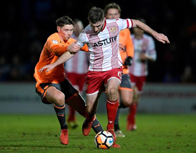 Soccer Football - FA Cup Third Round - Stevenage vs Reading - The Lamex Stadium, Stevenage, Britain - January 6, 2018 Stevenage's Danny Newton in action with Reading's George Evans Action Images/Alan Walter