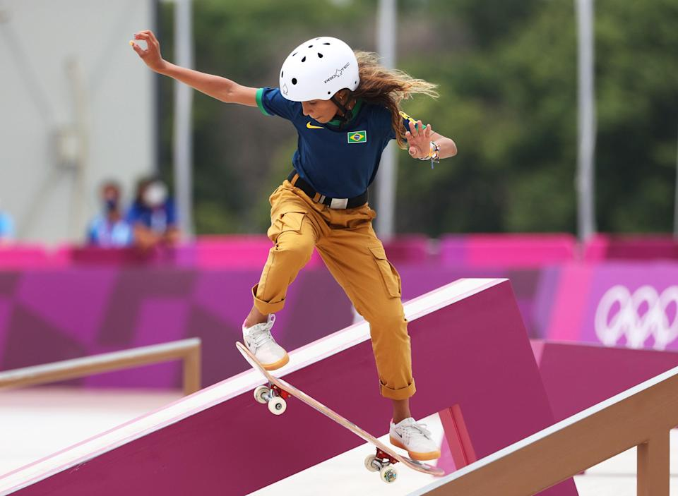 Silver medalist Rayssa Leal during the women's street prelims.