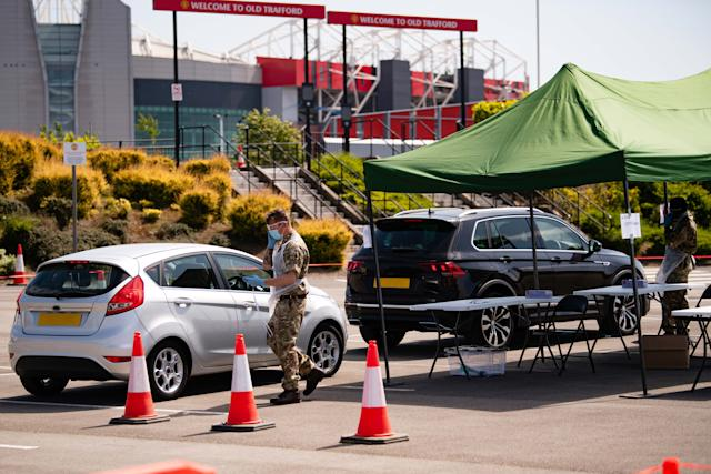A mobile coronavirus testing unit was in operation at Old Trafford over the last few days (Man Utd)
