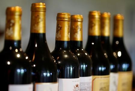 FILE PHOTO: Bottles of French red wine are displayed at the Chateau du Pavillon in Sainte-Croix-Du-Mont,