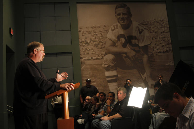 Philadelphia Eagles head coach Andy Reid gestures while speaking during a media availability at their NFL football training facility Monday, Nov. 12, 2012 in Philadelphia. (AP Photo/ Joseph Kaczmarek)