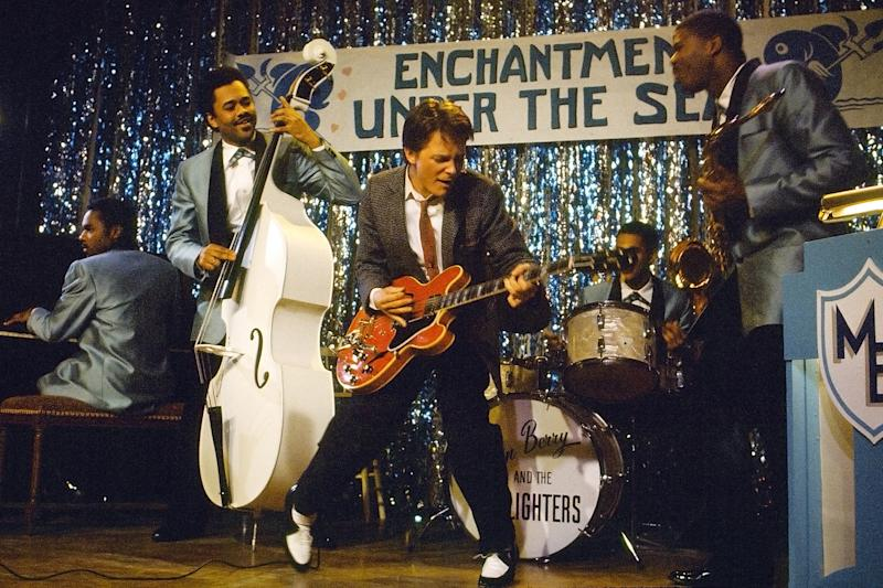 Marty McFly perfectly plays Johnny B Goode for an unappreciative audience (Image by Universal Pictures)