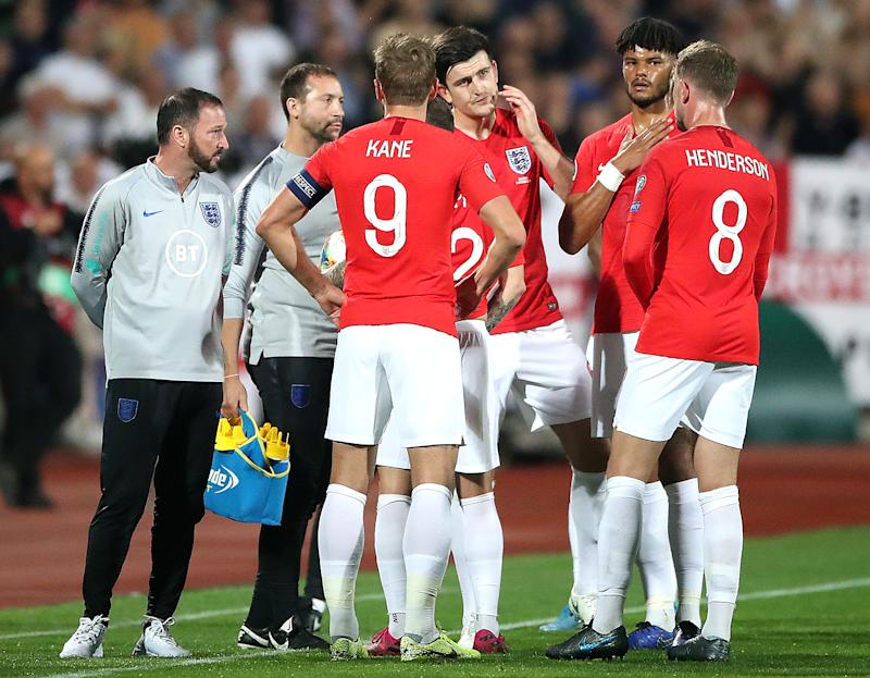 England players stand on the pitch during a temporary interruption during the UEFA Euro 2020 Qualifying match at the Vasil Levski National Stadium, Sofia, Bulgaria. (Photo by Nick Potts/PA Images via Getty Images)