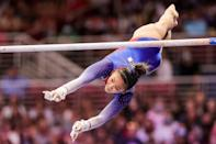 """<p>At the 2019 national championships, Lee earned the only gold medal in the senior women's competition that wasn't won by Biles. Lee won gold on the uneven bars - which has become a signature event for her - and later won bronze in the same event at the subsequent world championships. At this year's nationals, Lee repeated the feat, earning a gold medal on the bars, as well as silver on the balance beam and in the all-around. She's <a href=""""https://www.popsugar.com/fitness/womens-gymnastics-medal-predictions-2021-olympics-48423909"""" class=""""link rapid-noclick-resp"""" rel=""""nofollow noopener"""" target=""""_blank"""" data-ylk=""""slk:considered a favorite to win bars"""">considered a favorite to win bars</a> in Tokyo.</p>"""