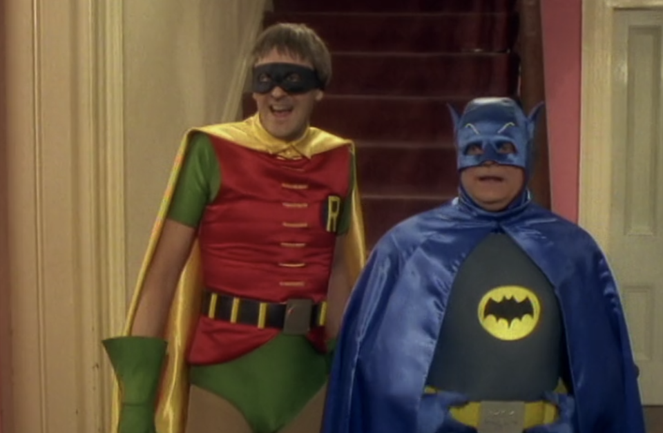 Del and Rodney accidentally went as Batman and Robin to a wake. (Netflix)