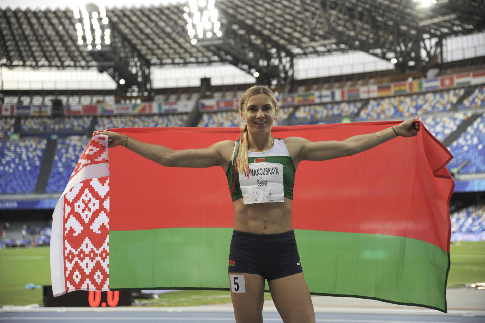 NAPLES, ITALY - JULY 11: Krystsina Tsimanouskaya of Belarus reacts during Women's 200 m Final during day four of the 2019 Summer Universiade on July 11, 2019 in Naples, Italy. (Photo by Ivan Romano/Getty Images)