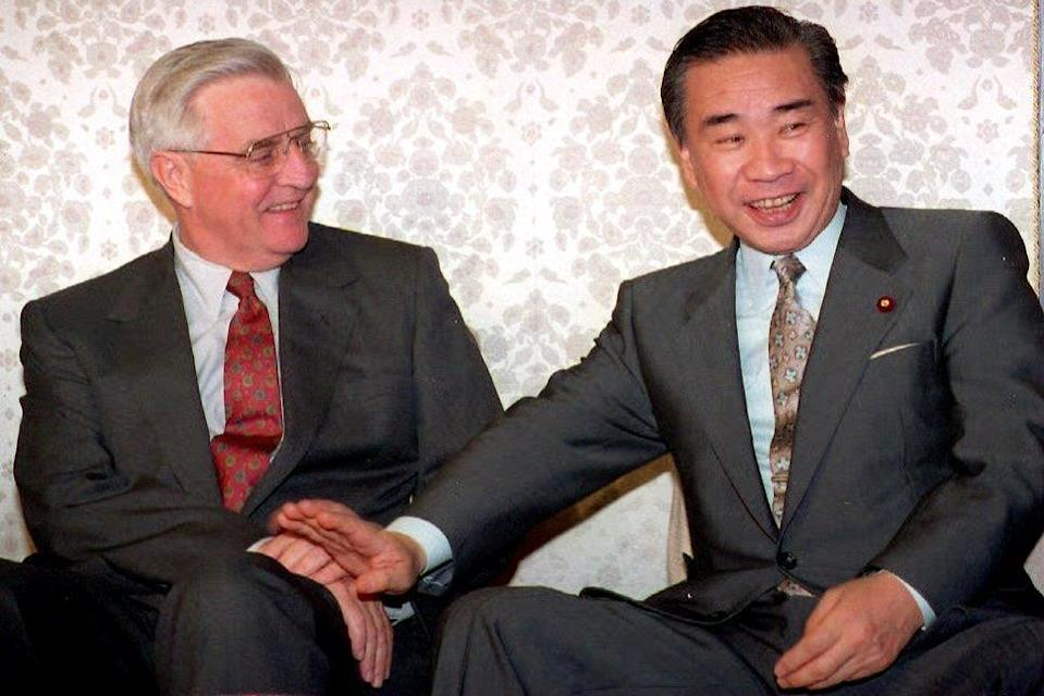 With Japanese politician Tsutomu Hata in 1995AFP/Getty
