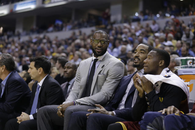 "When resting on the road is outlawed, only outlaws like a bespectacled <a class=""link rapid-noclick-resp"" href=""/nba/players/3704/"" data-ylk=""slk:LeBron James"">LeBron James</a> will rest on the road. (AP)"