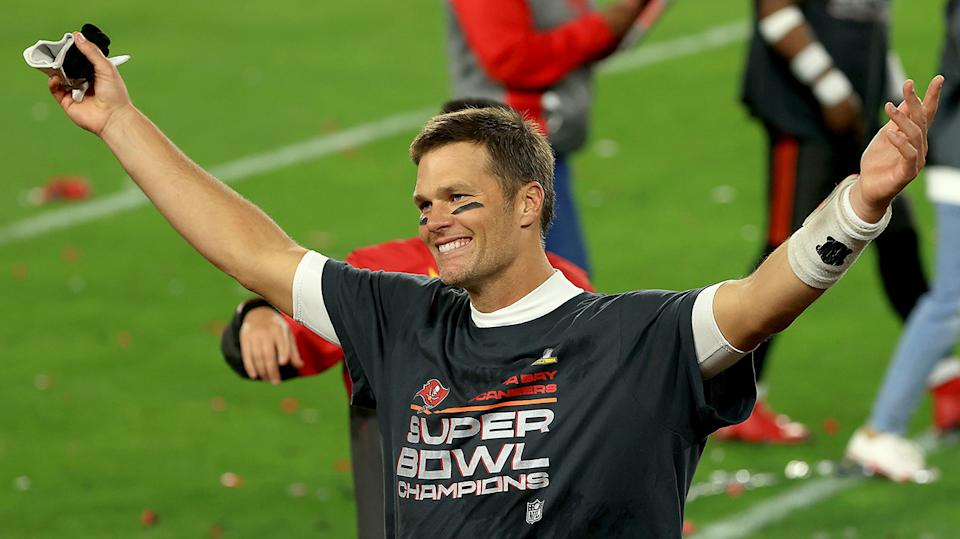 Tom Brady celebrates after guiding the Tampa Bay Buccaneers to Super Bowl victory over Kansas City. (Photo by Mike Ehrmann/Getty Images)