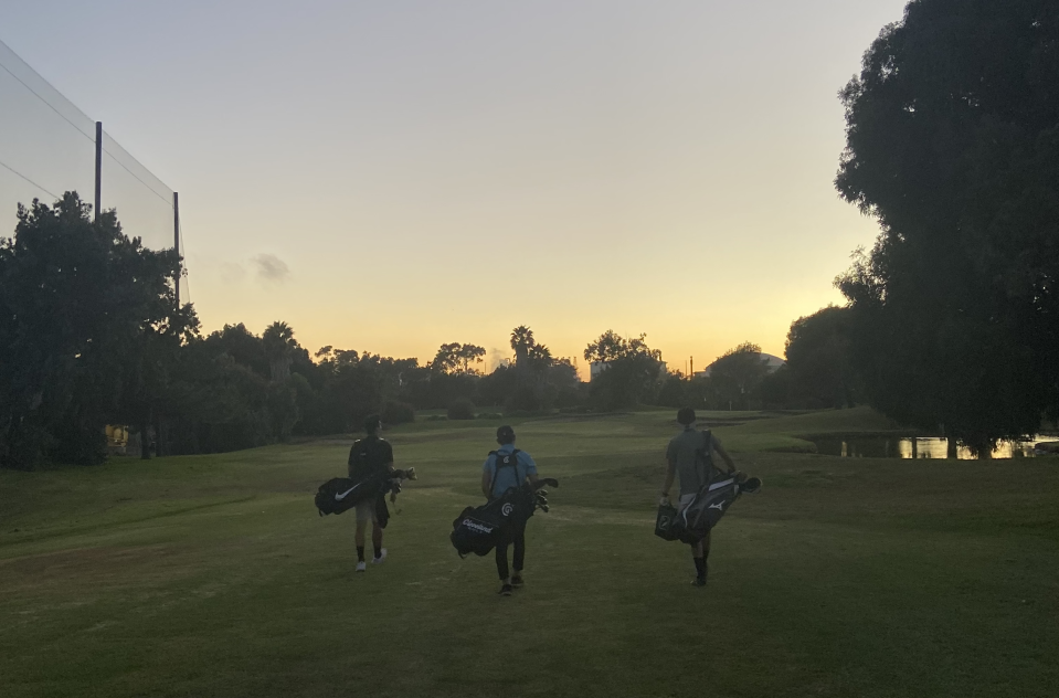 Three golfers play twilight golf after a long day of working from home in El Segundo, California (Source: Melody Hahm)
