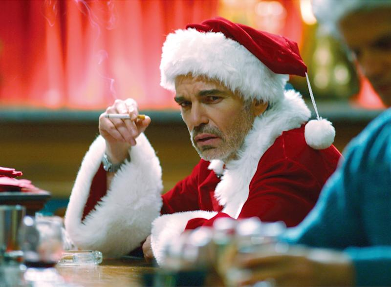 """FILE - In this file photo provided by Columbia Tristar, Billy Bob Thornton is shown in the movie """"Bad Santa."""" Over the years Santas have ranged from naughty to nice, from Edmund Gwenn's portrayal of Kris Kringle in """"Miracle on 34th Street,"""" to Billy Bob Thornton's gutter-mouthed drunk in """"Bad Santa."""" The latest incarnation comes courtesy of Paul Giamatti, playing Santa opposite Vince Vaughn as the fat man's black-sheep brother in """"Fred Claus."""" (AP Photo/Columbia TriStar, File)"""
