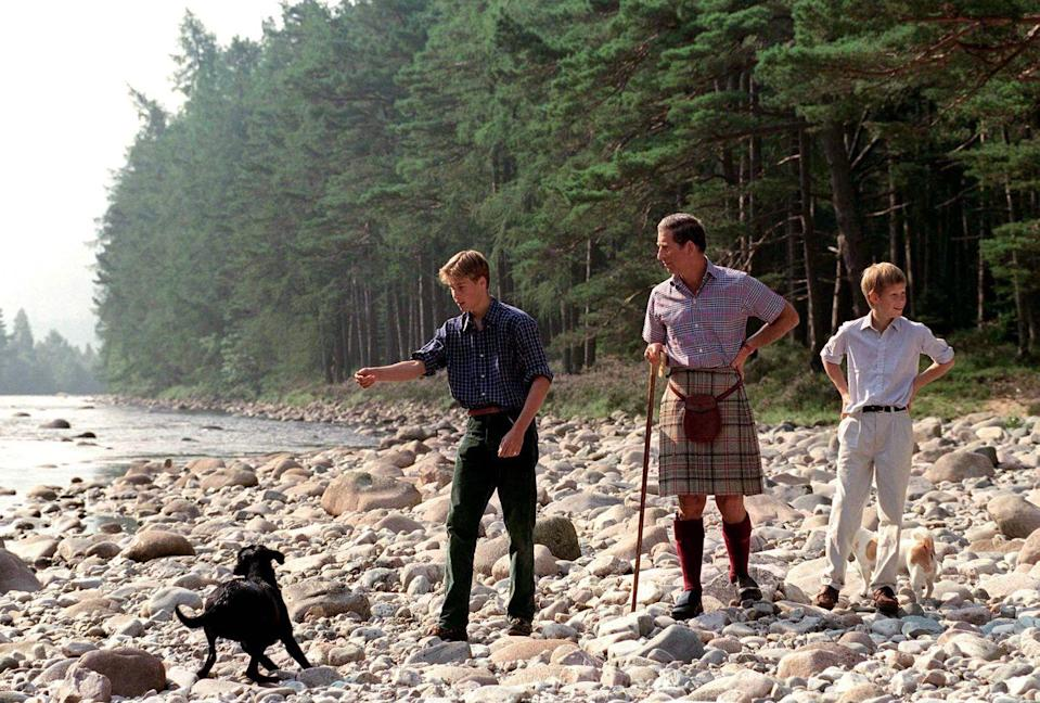 <p>Prince William, Prince Charles, and Prince Harry play with William's black lab Wigeon at Balmoral.</p>