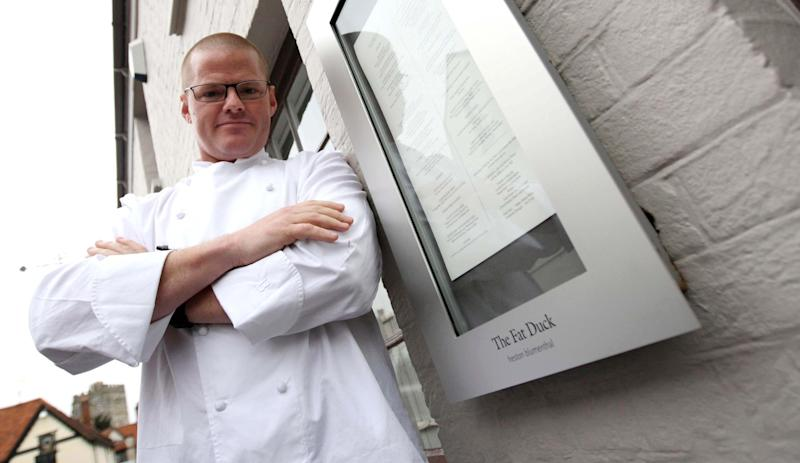 Heston Blumenthal poses for photographers outside his Fat Duck restaurant in Bray, Berkshire, after it re-opened today. (Photo by Steve Parsons - PA Images/PA Images via Getty Images)