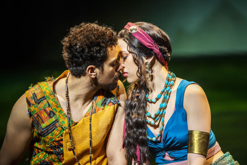 Luke Brady (Moses) and Christine Allado (Tzipporah) in The Prince Of Egypt (A New Musical) by Stephen Schwartz @ Dominion Theatre, London. A Dreamworks production. (©Tristram Kenton 02/20)