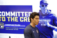 Milwaukee Brewers' Christian Yelich arrives at the Brewers' spring training facility to announce his multi-year contract extension Friday, March 6, 2020, in Phoenix. (AP Photo/Matt York)